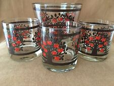 Vtg 70s 80s Colony Cocktail Red Apple Tree 3 Old Fashioned Glasses & Ice Bucket