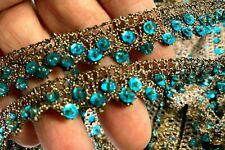 "Crochet Hand Sewn 1/2"" Trim Glass Beads Sequins Copper Turquoise 1yd"