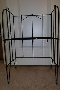 "Vintage Kaspar Wire Works Shiner Texas 25"" Blk Folding Wire 1 Shelf Plant Stand"