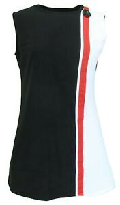Ladies 60s Retro Mod Vintage Black/White/Red Mini Dress