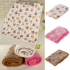 Pet Dog Puppy Cat Paw Print Fleece Small Large Warm Soft Blanket Beds Mat UK