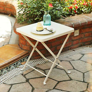 Side Table Folding Patio Portable Coffee Tables Indoor Outdoor End Table White