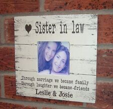 shabby vintage chic Sister in law  photo frame personalised christmas gift