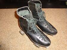 Vintage Riedell Black Leather Sure Grip Roller Skates Men's Size 8.5