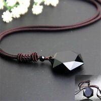 segen schwarz glück männer hexagramm form halskette obsidian anhänger amulet