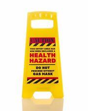 CAUTION HEALTH HAZARD... DESK SIGN Yellow 25cm fun office gift New
