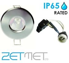 Brushed Chrome Outdoor Soffit LED GU10 Recessed Downlight Spotlight IP65 Light