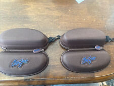 Lot of 2 (Cases x2) Maui Jim Brown Sport Case - Zippered w/ Clip