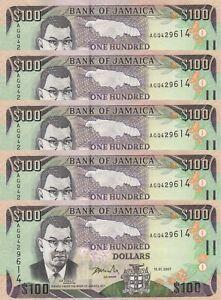 LOT, Jamaica 100 Dollars (15.01.2007) p84c x 5 PCS UNC
