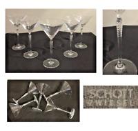 Vintage Schott Zwiesel Martini Glasses 6 oz Twisted Stem Set of 5 SIGNED Germany