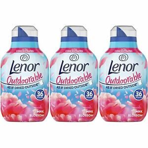 3 x Lenor Outdoorable Fabric Conditioner Pink Blossom 504ml - 36 Washes - Fresh