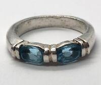 Vintage Sterling Silver Ring 925 Size 6.5 Blue Topaz Band CI