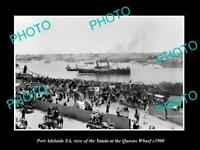 OLD 8x6 HISTORIC PHOTO OF PORT ADELAIDE SA THE YATALA AT QUEENS WHARF c1900