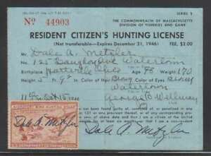 A7925: US #RW13 Used on 1946 Hunting License