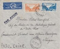 ROW317) ) Indochina 1947 inwards mail. Small airmail cover from Lebanon