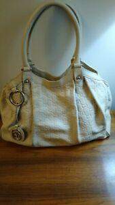 Reduced! Gucci Guccissima  Logo Embossed Ivory Leather Sukey Handbag # 211943.