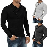 Mens Stylish Muscle Polo Shirts V Neck Slim Fit Long Sleeve Casual T-Shirt Tops