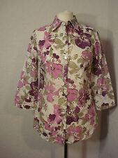 BNWOT Damart white & purple/pink floral shirt top 8-10