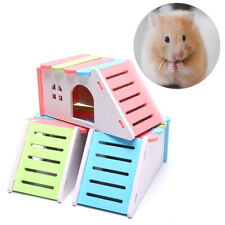 Hamster Hideout House Hamsters Exercise Toy Wood Hamster House with Ladder Sl MW
