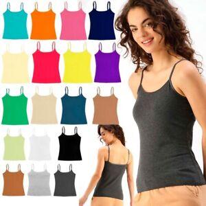 Ladies Women Girls Stretch Cami Camisole Vest Adjustable Straps Singlet Tank Top