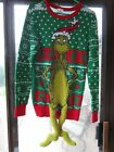 Size M Mens Ugly Christmas Sweater Dr. Seuss The Grinch w Dangle Legs small hole