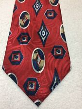 ADOLFO MENS TIE RED WITH BLUE BROWN AND WHITE 4 X 57  NWT