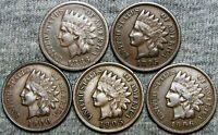 1886 +1895 +1900 +1905 +1906 Indian Head Cents --- NICE LOT --- #V670
