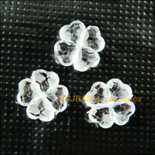 60Pcs Clear Plastic Acrylic Faceted Clover Charms Spacer Beads 11mm