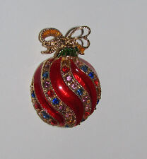 Christmas Ornament Pin Red New Crystal Accents Gold Tone Holiday Jewelry