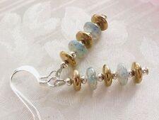 Modern Stack Earrings Minimalist Beach Blue Brown Glass Disc Czech Sand Sea Gift