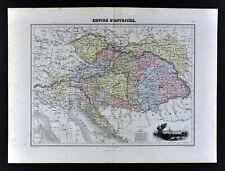 1877 Migeon Map Austria Hungary Empire Bohemia Vienna Budapest Transylvania Vig