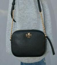 Tory Burch Logo Round Crossbody Bag Black Leather Purse