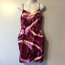 BCBG Maxaria Pink Purple Floral Fully Lined  Dress Size 8