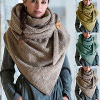 Women Warm Winter Flower Triangle Scarf Button Soft Neck Wrap Thick Shawl