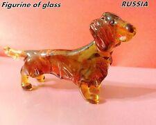 Dachshund figurine dog blown glass handmade miniature from Russia