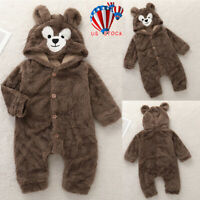 Newborn Baby Boy Girl Hooded Romper Fleece Bear Jumpsuit Bodysuit Clothes Outfit