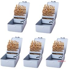(5 Sets) 29Pcs Drill Bits Set Hss Titanium Twist Metal Power Tools Multi-Bits