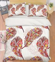 3D Red Feathers Bed Pillowcases Quilt Duvet Cover Set Single Queen King Size AU