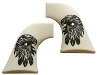 Chief Eagle on Matte Faux Ivory Custom Ruger Revolver Grips Vaquero Wrangler