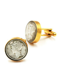 silver and 24 karat gold plated Cuff links of Mercury Dime coins. 90%
