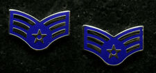 TWO SENIOR AIRMAN RANK HAT LAPEL PIN UP BADGE VETERAN E4 US AIR FORCE INSIGNIA