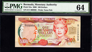 Bermuda 2000 QEII $100 Low Serial 000999 Pick-55a CH UNC PMG 64