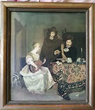 "Framed Gerard ter Borch ""A Woman playing a Lute to Two Men"" 1667-1668, copy"