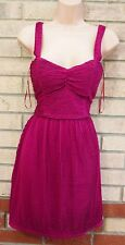 NEW LOOK MAGENTA PINK + PURPLE MIX RUCHED PADDED BRA SKATER TEA A LINE DRESS 14