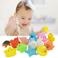 13pcs Cute Animals Kids Toys Soft Rubber Float Sqeeze Sound Baby Wash Bath Play