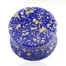"PAIR-Splatter Blue Acrylic Double Flare Plugs 14mm/9/16"" Gauge Body Jewelry"