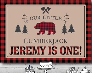 LUMBERJACK WOODS PERSONALISED BIRTHDAY PARTY BANNER BACKDROP BACKGROUND
