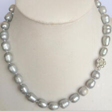 New 9-10mm gray rice akoya freshwater cultured pearl necklace