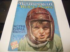 1939 NORTHWESTERN VS. NOTRE DAME NCAA FOOTBALL PROGRAM NOTRE DAME STADIUM RARE