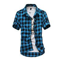 Herren Kariert Freizeit Kurzarmhemd Sommer Kurzarm Shirt Tops Oberteil T shirt A